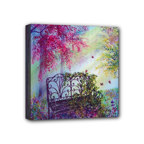 Bench In Spring Forest Mini Canvas 4  X 4