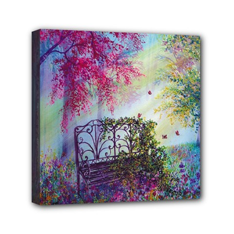 Bench In Spring Forest Mini Canvas 6  X 6