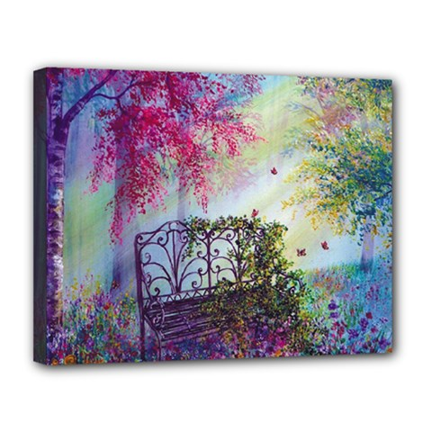 Bench In Spring Forest Canvas 14  X 11
