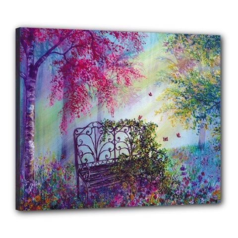 Bench In Spring Forest Canvas 24  x 20