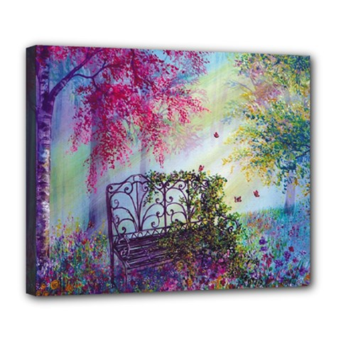 Bench In Spring Forest Deluxe Canvas 24  x 20