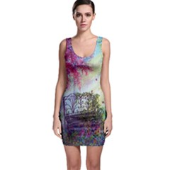 Bench In Spring Forest Sleeveless Bodycon Dress