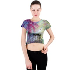 Bench In Spring Forest Crew Neck Crop Top