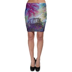Bench In Spring Forest Bodycon Skirt