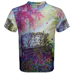 Bench In Spring Forest Men s Cotton Tee