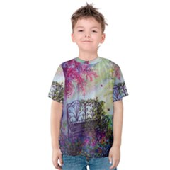 Bench In Spring Forest Kids  Cotton Tee