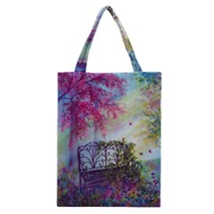 Bench In Spring Forest Classic Tote Bag