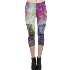 Bench In Spring Forest Capri Leggings
