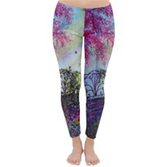Bench In Spring Forest Classic Winter Leggings