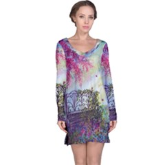 Bench In Spring Forest Long Sleeve Nightdress