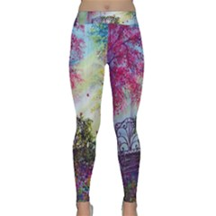 Bench In Spring Forest Classic Yoga Leggings