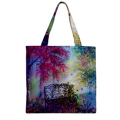 Bench In Spring Forest Zipper Grocery Tote Bag