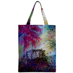 Bench In Spring Forest Zipper Classic Tote Bag