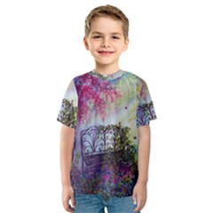 Bench In Spring Forest Kids  Sport Mesh Tee