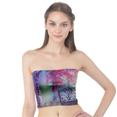 Bench In Spring Forest Tube Top