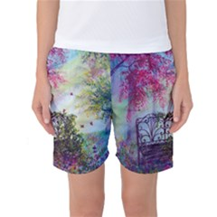 Bench In Spring Forest Women s Basketball Shorts
