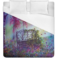 Bench In Spring Forest Duvet Cover (king Size)