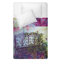Bench In Spring Forest Duvet Cover Double Side (single Size)
