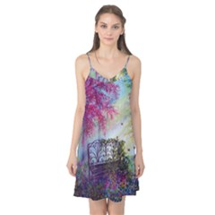 Bench In Spring Forest Camis Nightgown