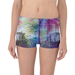 Bench In Spring Forest Reversible Bikini Bottoms