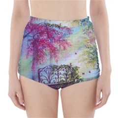 Bench In Spring Forest High Waisted Bikini Bottoms