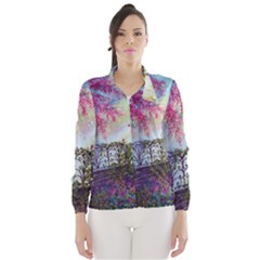 Bench In Spring Forest Wind Breaker (women)