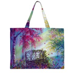 Bench In Spring Forest Large Tote Bag