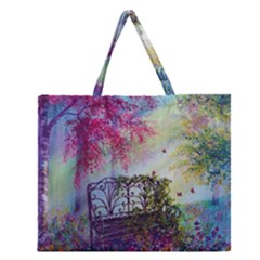 Bench In Spring Forest Zipper Large Tote Bag