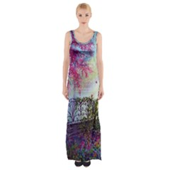 Bench In Spring Forest Maxi Thigh Split Dress