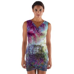 Bench In Spring Forest Wrap Front Bodycon Dress