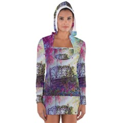 Bench In Spring Forest Women s Long Sleeve Hooded T Shirt