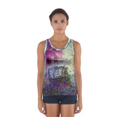 Bench In Spring Forest Women s Sport Tank Top
