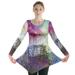 Bench In Spring Forest Long Sleeve Tunic
