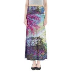 Bench In Spring Forest Maxi Skirts