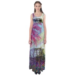 Bench In Spring Forest Empire Waist Maxi Dress