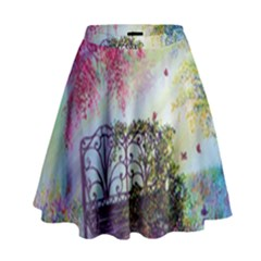 Bench In Spring Forest High Waist Skirt
