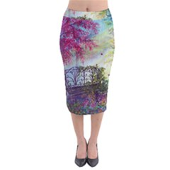 Bench In Spring Forest Midi Pencil Skirt