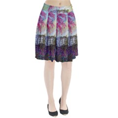 Bench In Spring Forest Pleated Skirt
