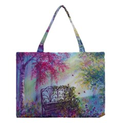 Bench In Spring Forest Medium Tote Bag