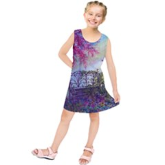 Bench In Spring Forest Kids  Tunic Dress