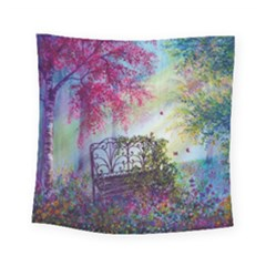 Bench In Spring Forest Square Tapestry (small)