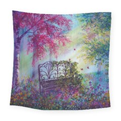 Bench In Spring Forest Square Tapestry (large)