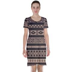Ethnic Pattern Vector Short Sleeve Nightdress