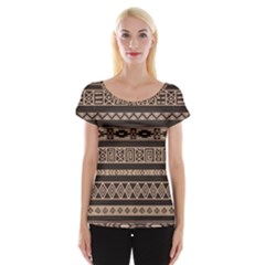 Ethnic Pattern Vector Women s Cap Sleeve Top