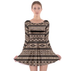 Ethnic Pattern Vector Long Sleeve Skater Dress