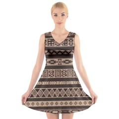 Ethnic Pattern Vector V-Neck Sleeveless Skater Dress