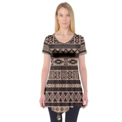 Ethnic Pattern Vector Short Sleeve Tunic