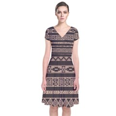 Ethnic Pattern Vector Short Sleeve Front Wrap Dress