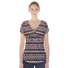 Ethnic Pattern Vector Short Sleeve Front Detail Top