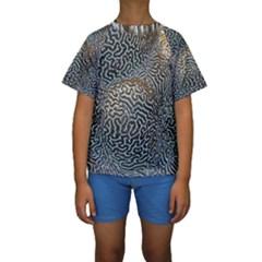 Coral Pattern Kids  Short Sleeve Swimwear